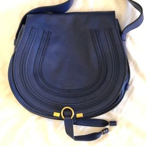 Chloe Calfskin Marcie Medium Crossbody Blue